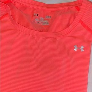 UA Coral striped athletic top w/stitching accents.